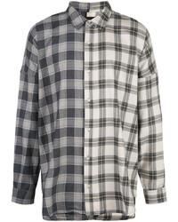 Camisa de manga larga de tartán gris de Mostly Heard Rarely Seen