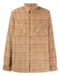 Camisa de manga larga de tartán marrón claro de A.P.C.