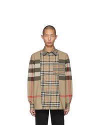 Camisa de manga larga de tartán marrón claro de Burberry