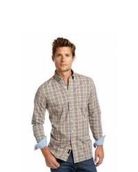 Camisa de manga larga de tartán marrón