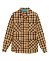 Camisa de manga larga de tartán naranja de Gucci