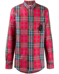 Camisa de manga larga de tartán roja de Alexander McQueen