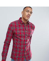 Camisa de manga larga de tartán roja de ASOS DESIGN