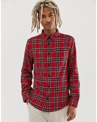 Camisa de manga larga de tartán roja de Bershka