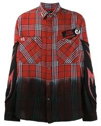 Camisa de manga larga de tartán roja de Diesel