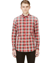 Camisa de manga larga de tartán roja de DSquared