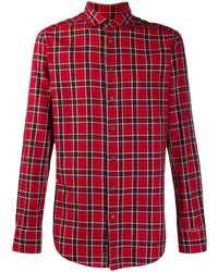 Camisa de manga larga de tartán roja de Etro