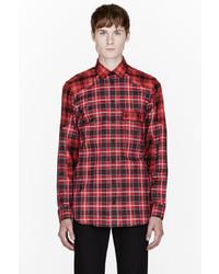 Camisa de manga larga de tartán roja de Givenchy