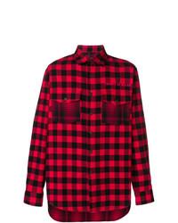 Camisa de manga larga de tartán roja de Marcelo Burlon County of Milan