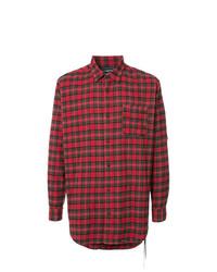 Camisa de manga larga de tartán roja de Mastermind World