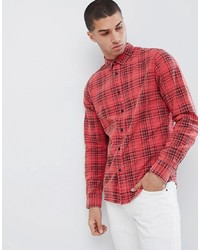 Camisa de manga larga de tartán roja de ONLY & SONS