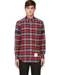 Camisa de manga larga de tartán roja de Thom Browne