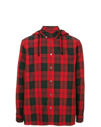 Camisa de manga larga de tartán roja de Undercover