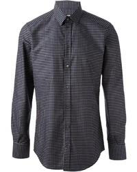 Camisa de manga larga en azul marino y blanco