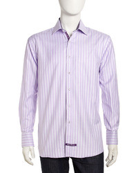 Camisa de manga larga en blanco y violeta