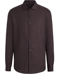 Camisa de manga larga en marrón oscuro de Ermenegildo Zegna