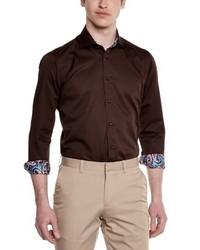 Camisa de manga larga en marrón oscuro de Gianni Ferrucci