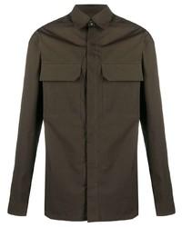 Camisa de manga larga en marrón oscuro de Rick Owens