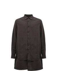Camisa de manga larga en marrón oscuro de Ziggy Chen