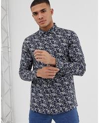 Camisa de manga larga estampada azul marino de Burton Menswear