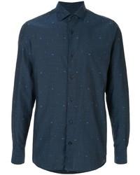 Camisa de manga larga estampada azul marino de Ermenegildo Zegna