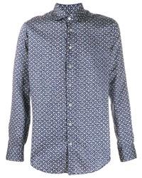 Camisa de manga larga estampada azul marino de Etro