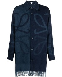 Camisa de manga larga estampada azul marino de Loewe