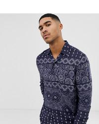 Camisa de manga larga estampada azul marino de Mauvais