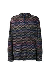 Camisa de manga larga estampada azul marino de Missoni