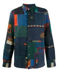 Camisa de manga larga estampada azul marino de PS Paul Smith