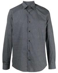 Camisa de manga larga estampada azul marino de Salvatore Ferragamo