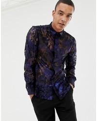Camisa de manga larga estampada azul marino de Twisted Tailor
