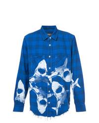 Camisa de manga larga estampada azul de Amiri