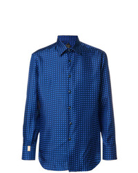 Camisa de manga larga estampada azul de Billionaire