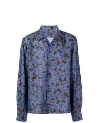Camisa de manga larga estampada azul de Dell'oglio