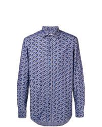 Camisa de manga larga estampada azul de Etro