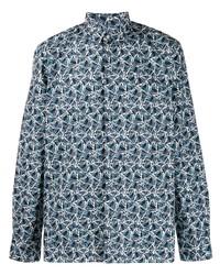 Camisa de manga larga estampada azul de Fendi