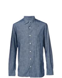 Camisa de manga larga estampada azul de Kiton