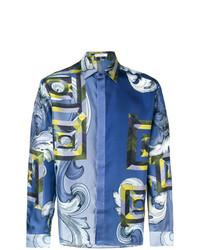 Camisa de manga larga estampada azul de Versace Collection