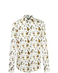 Camisa de manga larga estampada blanca de Dolce & Gabbana