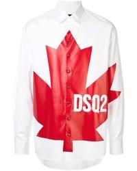 Camisa de manga larga estampada blanca de DSQUARED2