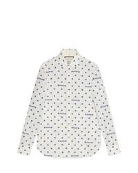 Camisa de manga larga estampada blanca de Gucci