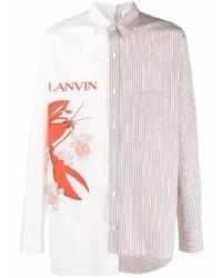 Camisa de manga larga estampada blanca de Lanvin