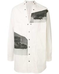 Camisa de manga larga estampada blanca de Rick Owens