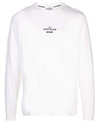 Camisa de manga larga estampada blanca de Stone Island