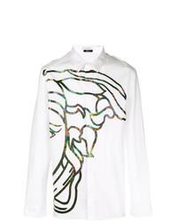 Camisa de manga larga estampada blanca de Versace Collection