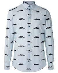 Camisa de manga larga estampada celeste de Dolce & Gabbana