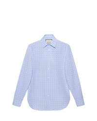 Camisa de manga larga estampada celeste de Gucci