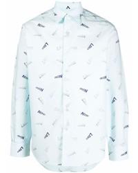 Camisa de manga larga estampada celeste de Lanvin