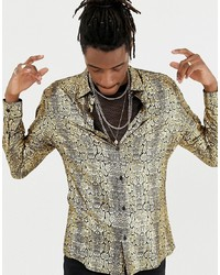 Camisa de manga larga estampada dorada de Jaded London
